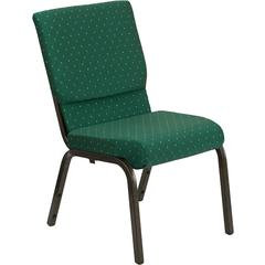 HERCULES Series 18.5''W Green Patterned Fabric Stacking Church Chair with 4.25'' Thick Seat - Gold Vein Frame