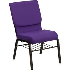 HERCULES Series 18.5''W Purple Fabric Church Chair with 4.25'' Thick Seat, Book Rack - Gold Vein Frame