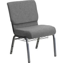 Flash Furniture HERCULES Series 21'' Extra Wide Gray Fabric Church Chair with 3.75'' Thick Seat, Book Rack - Silver Vein Frame