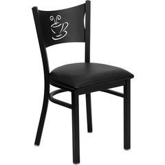 HERCULES Series Black Coffee Back Metal Restaurant Chair - Black Vinyl Seat
