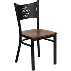 Flash Furniture HERCULES Series Black Coffee Back Metal Restaurant Chair - Cherry Wood Seat