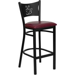 HERCULES Series Black Coffee Back Metal Restaurant Barstool - Burgundy Vinyl Seat