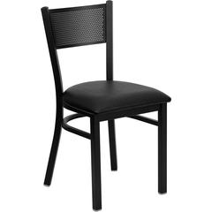 Flash Furniture HERCULES Series Black Grid Back Metal Restaurant Chair - Black Vinyl Seat