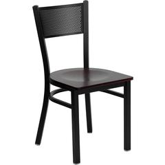 Flash Furniture HERCULES Series Black Grid Back Metal Restaurant Chair - Mahogany Wood Seat