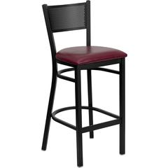 Flash Furniture HERCULES Series Black Grid Back Metal Restaurant Barstool - Burgundy Vinyl Seat