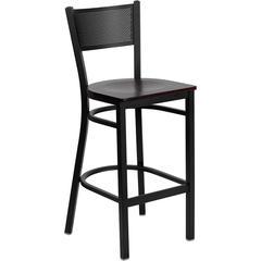 HERCULES Series Black Grid Back Metal Restaurant Barstool - Mahogany Wood Seat