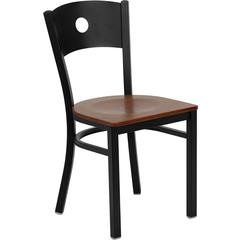 HERCULES Series Black Circle Back Metal Restaurant Chair - Cherry Wood Seat