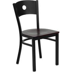Flash Furniture HERCULES Series Black Circle Back Metal Restaurant Chair - Mahogany Wood Seat