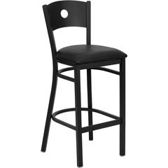 HERCULES Series Black Circle Back Metal Restaurant Barstool - Black Vinyl Seat