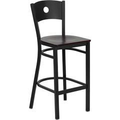 HERCULES Series Black Circle Back Metal Restaurant Barstool - Mahogany Wood Seat