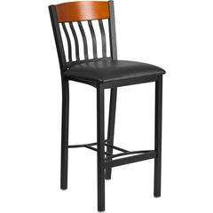 Eclipse Series Vertical Back Black Metal and Cherry Wood Restaurant Barstool with Black Vinyl Seat