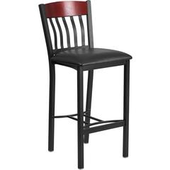 Eclipse Series Vertical Back Black Metal and Mahogany Wood Restaurant Barstool with Black Vinyl Seat