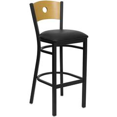 HERCULES Series Black Circle Back Metal Restaurant Barstool - Natural Wood Back, Black Vinyl Seat