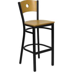 HERCULES Series Black Circle Back Metal Restaurant Barstool - Natural Wood Back & Seat