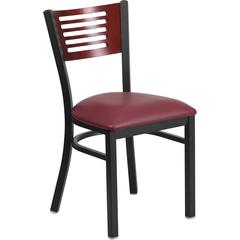 HERCULES Series Black Slat Back Metal Restaurant Chair - Mahogany Wood Back, Burgundy Vinyl Seat