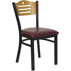 Flash Furniture HERCULES Series Black Slat Back Metal Restaurant Chair - Natural Wood Back, Burgundy Vinyl Seat