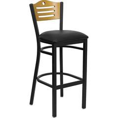 HERCULES Series Black Slat Back Metal Restaurant Barstool - Natural Wood Back, Black Vinyl Seat