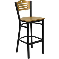 HERCULES Series Black Slat Back Metal Restaurant Barstool - Natural Wood Back & Seat