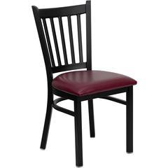 HERCULES Series Black Vertical Back Metal Restaurant Chair - Burgundy Vinyl Seat