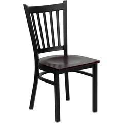 Flash Furniture HERCULES Series Black Vertical Back Metal Restaurant Chair - Mahogany Wood Seat