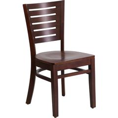 Flash Furniture Darby Series Slat Back Walnut Wooden Restaurant Chair