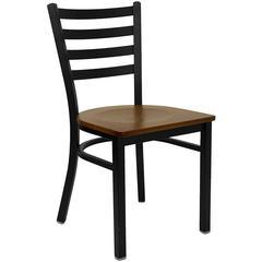HERCULES Series Black Ladder Back Metal Restaurant Chair - Cherry Wood Seat