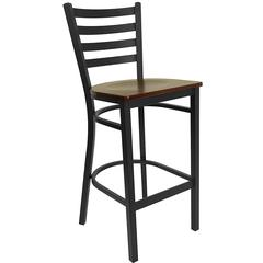 Flash Furniture HERCULES Series Black Ladder Back Metal Restaurant Barstool - Mahogany Wood Seat