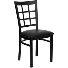 HERCULES Series Black Window Back Metal Restaurant Chair - Black Vinyl Seat