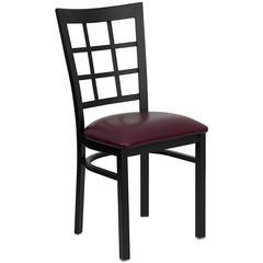 HERCULES Series Black Window Back Metal Restaurant Chair - Burgundy Vinyl Seat