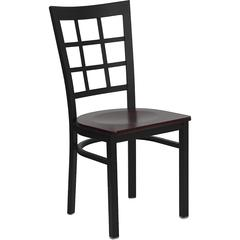 HERCULES Series Black Window Back Metal Restaurant Chair - Mahogany Wood Seat