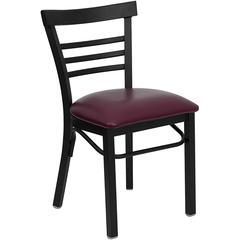 HERCULES Series Black Ladder Back Metal Restaurant Chair - Burgundy Vinyl Seat