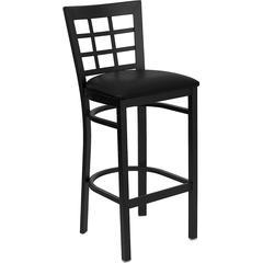 HERCULES Series Black Window Back Metal Restaurant Barstool - Black Vinyl Seat