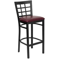 HERCULES Series Black Window Back Metal Restaurant Barstool - Burgundy Vinyl Seat