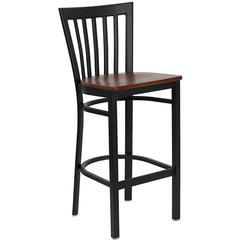 HERCULES Series Black School House Back Metal Restaurant Barstool - Cherry Wood Seat