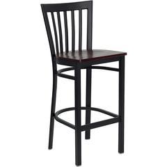 HERCULES Series Black School House Back Metal Restaurant Barstool - Mahogany Wood Seat