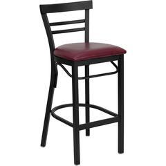 HERCULES Series Black Ladder Back Metal Restaurant Barstool - Burgundy Vinyl Seat