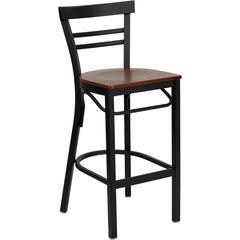 HERCULES Series Black Ladder Back Metal Restaurant Barstool - Cherry Wood Seat