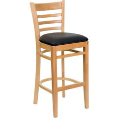HERCULES Series Natural Wood Finished Ladder Back Wooden Restaurant Barstool - Black Vinyl Seat