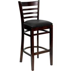 Flash Furniture HERCULES Series Walnut Finished Ladder Back Wooden Restaurant Barstool - Black Vinyl Seat