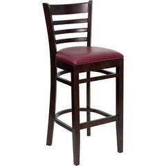 HERCULES Series Walnut Finished Ladder Back Wooden Restaurant Barstool - Burgundy Vinyl Seat