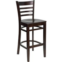 HERCULES Series Walnut Finished Ladder Back Wooden Restaurant Barstool