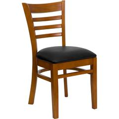HERCULES Series Cherry Finished Ladder Back Wooden Restaurant Chair - Black Vinyl Seat