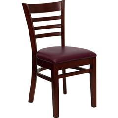 HERCULES Series Mahogany Finished Ladder Back Wooden Restaurant Chair - Burgundy Vinyl Seat