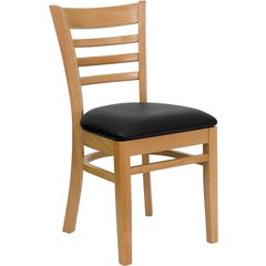 HERCULES Series Natural Wood Finished Ladder Back Wooden Restaurant Chair - Black Vinyl Seat