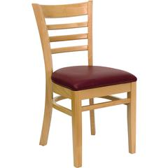 Flash Furniture HERCULES Series Natural Wood Finished Ladder Back Wooden Restaurant Chair - Burgundy Vinyl Seat