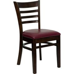 Flash Furniture HERCULES Series Walnut Finished Ladder Back Wooden Restaurant Chair - Burgundy Vinyl Seat