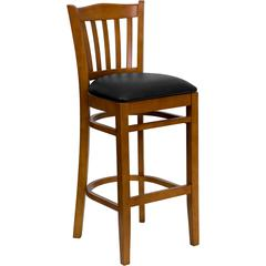 HERCULES Series Cherry Finished Vertical Slat Back Wooden Restaurant Barstool - Black Vinyl Seat