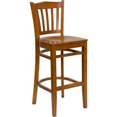 Flash Furniture HERCULES Series Cherry Finished Vertical Slat Back Wooden Restaurant Barstool