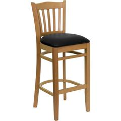 Flash Furniture HERCULES Series Natural Wood Finished Vertical Slat Back Wooden Restaurant Barstool - Black Vinyl Seat