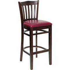Flash Furniture HERCULES Series Walnut Finished Vertical Slat Back Wooden Restaurant Barstool - Burgundy Vinyl Seat